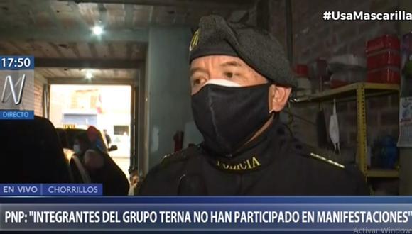 El jefe del Grupo Terna, coronel PNP Fredy Velásquez, detalló cómo fue la participación de su unidad policial durante las recientes protestas ciudadanas. (Foto: Captura Canal N)