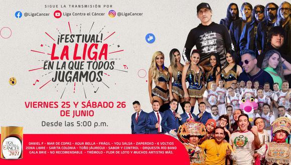 """El festival musical lleva como nombre """"La Liga en la que todos jugamos"""" y contará la participación de más de 30 bandas, orquestas, cantantes, celebridades y líderes de opinión. (Foto: Liga Contra el Cáncer)"""