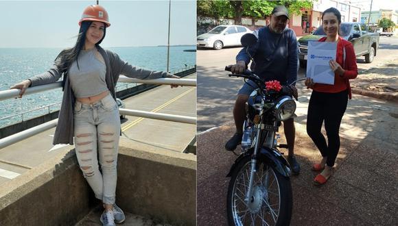 Joven regala moto a su padrastro por ayudarla a pagar sus estudios. | Foto: Composición de Facebook.