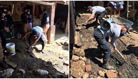 Policías usaron lampas y piso para ayudar y dar mantenimiento al patio