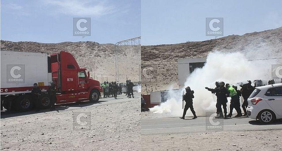 Usaron bombas lacrimógenas para habilitar  pase en la Panamericana Sur de Arequipa