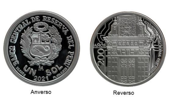 En el reverso de la moneda, en el centro, se exhibe una composición de la portada del antiguo edificio de la Biblioteca Nacional del Perú. (Foto: BCR)