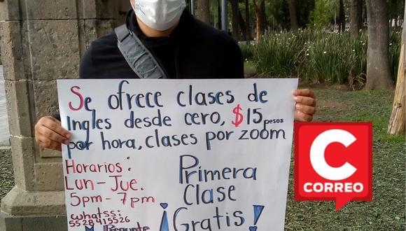 La foto de un joven profesor de inglés que ofrece clases por Zoom de una forma muy particular en la CDMX se volvió tendencia en más de una red social. | Crédito: Caleb Rojas / Facebook