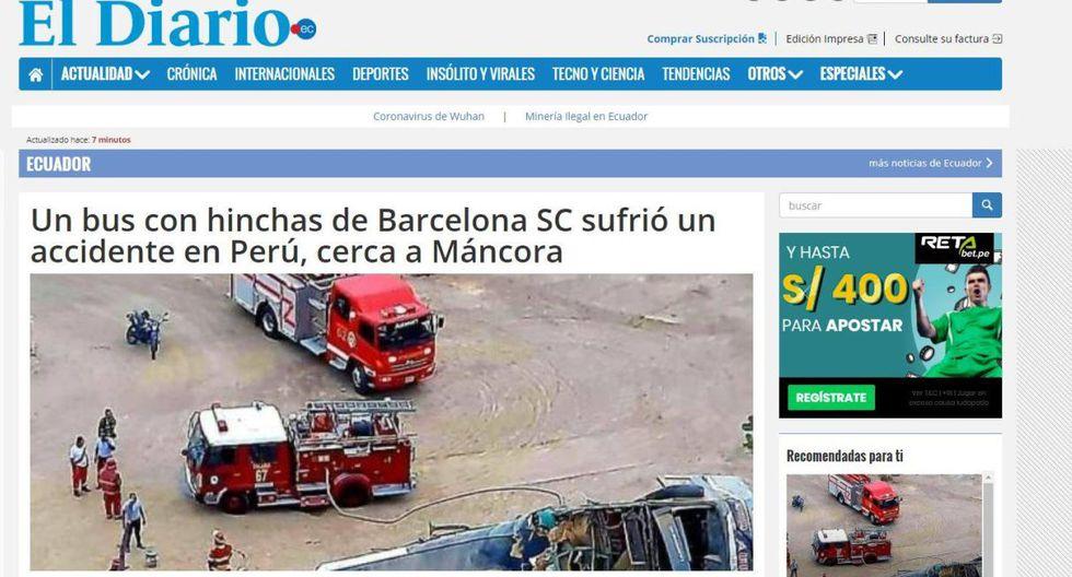 """El Diario de Ecuador tituló la noticia de la siguiente manera: """"Un bus con hinchas de Barcelona SC sufrió un accidente en Perú, cerca a Máncora"""". (El Diario)."""