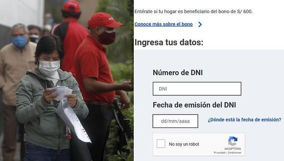 """El Gobierno habilitó la plataforma virtual para que ciudadanos verifiquen si son beneficiarios del """"Bono 600 soles″. (Fotos: GEC)"""