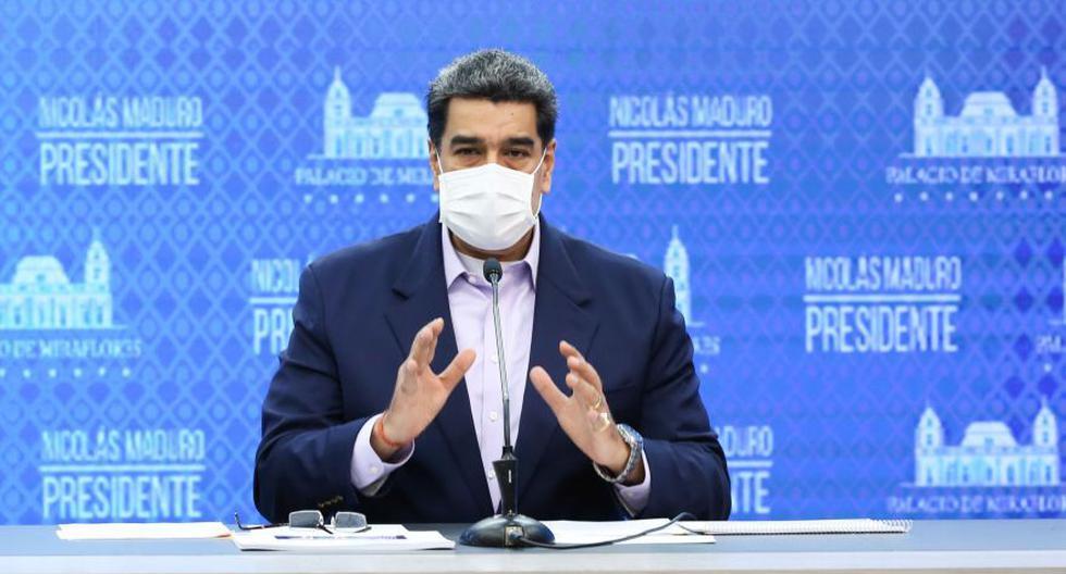 Nicolás Maduro se pronuncia en cadena nacional en Caracas, Venezuela. (AFP / VENEZUELAN PRESIDENCY / MARCELO GARCIA).