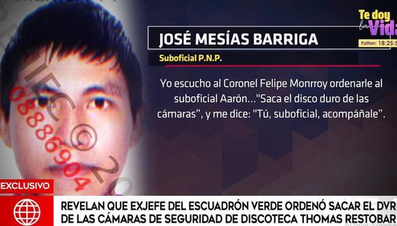 El suboficial PNP josé Mesías Barriga dio su testimonio ante Inspectoría de la Policía. (América Noticias)