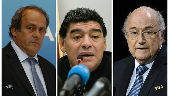 Michel Platini aprendió a mentir con Joseph Blatter, dice Diego Maradona