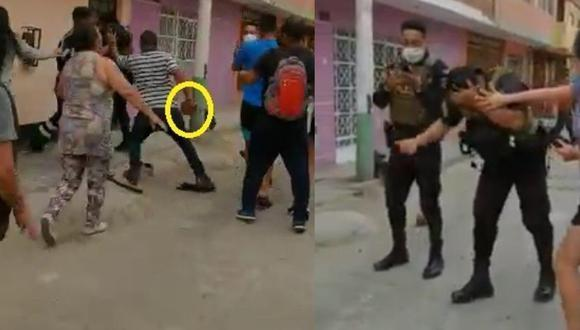 Agente fue cobardemente agredido. (Captura video)
