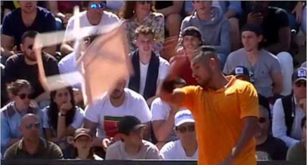 Descalifican a Kyrgios por lanzar una silla a la pista (VIDEO)
