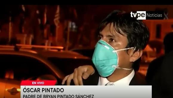 Óscar Pintado, papá de Bryan Pintado, pide que no quede impune el asesinato de su hijo durante protestas contra Manuel Merino. (Foto: Captura TV Perú)