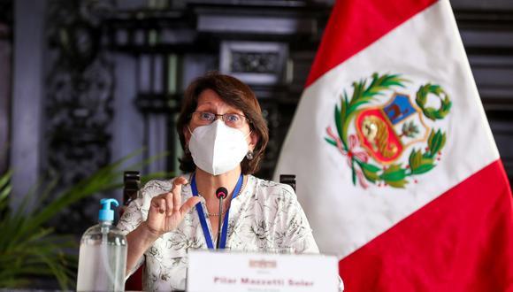 La ministra de Salud, Pilar Mazzetti, habló esta noche sobre la vacuna contra el nuevo coronavirus. (Foto: Andina)