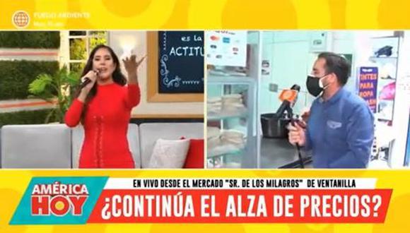 """Melissa Paredes tras reencontrarse con su casera del mercado de Ventanilla: """"Siempre iba con mi mami"""". (Foto: Captura de video)"""