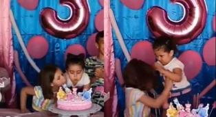 Viral: niña jala del cabello a hermanita por soplar las velas de su pastel