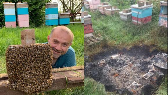Apicultor inglés se dedica a la crianza de abejas y venta de miel desde 1994. (Foto: Composición)