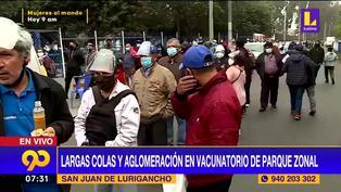 Largas colas y desorden en exteriores de centro de vacunación de San Juan de Lurigancho (VIDEO)