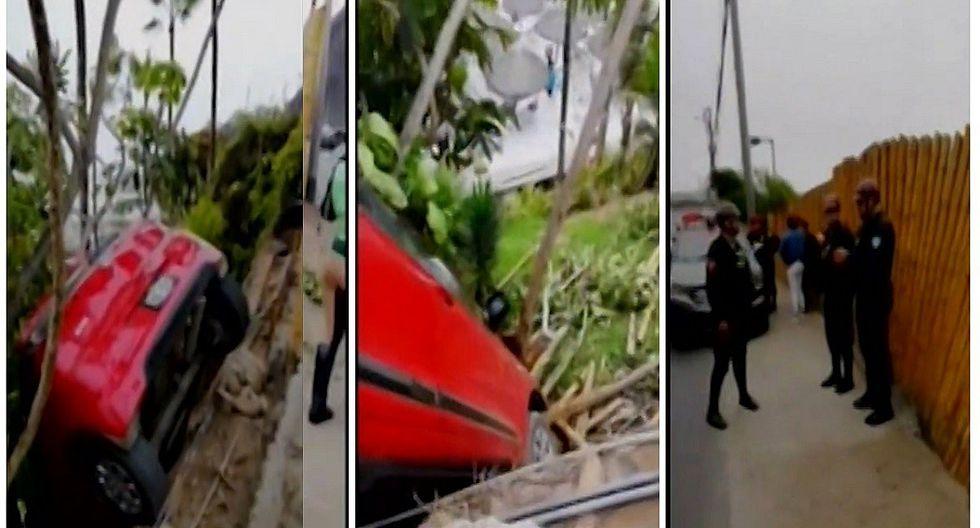 Miraflores: Auto se despista y casi cae a conocido club de la Costa Verde (VIDEO)