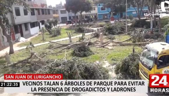 La comuna de San Juan de Lurigancho investigará para determinar a los responsables de la tala de árboles. (24 Horas)
