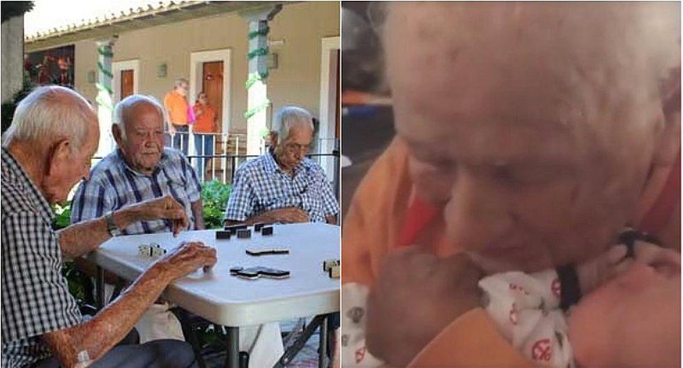 Abrazo de bisabuelo a bebé conmueve a cibernautas