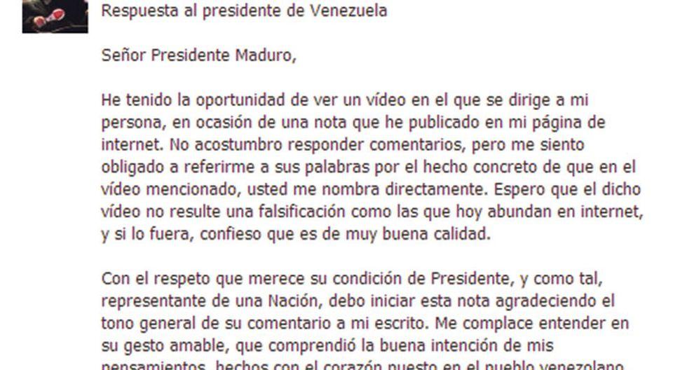 Rubén Blades responde a Nicolás Maduro a través de sus redes sociales