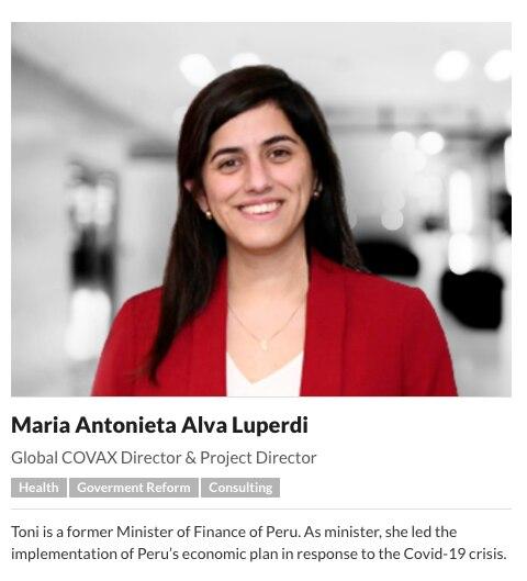 Equipo de trabajo de la consultora suiza Acasus. En la imagen se observa a la exministra peruana María Antonieta Alva. (Captura de pantalla/Acasus).