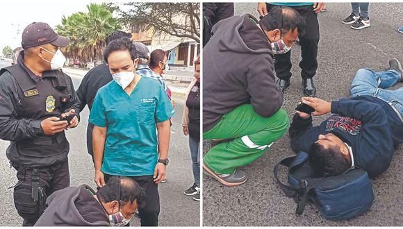 Periodista iba en una motocicleta y fue arrojado a varios metros de la pista, donde otro camión también estuvo a punto de arrollarlo.