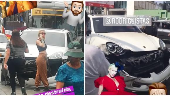 Camioneta de Leslie Shaw quedó destrozada tras sufrir choque de una combi. (Foto: Instagram)