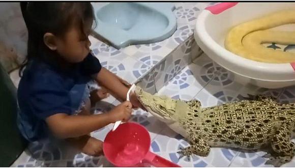 """Padres causan indignación al dejar que su niña """"cepille"""" los dientes a un cocodrilo (VIDEO)"""
