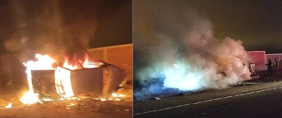 Auto queda chatarra tras choque, vuelco e incendio en la Panamericana Sur