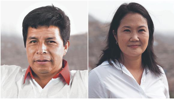 Según encuesta de Datum Internacional, Pedro Castillo obtiene 44% y Keiko Fujimori el 34%. (Fotos:  Perú Libre / Hugo Pérez / Archivo)