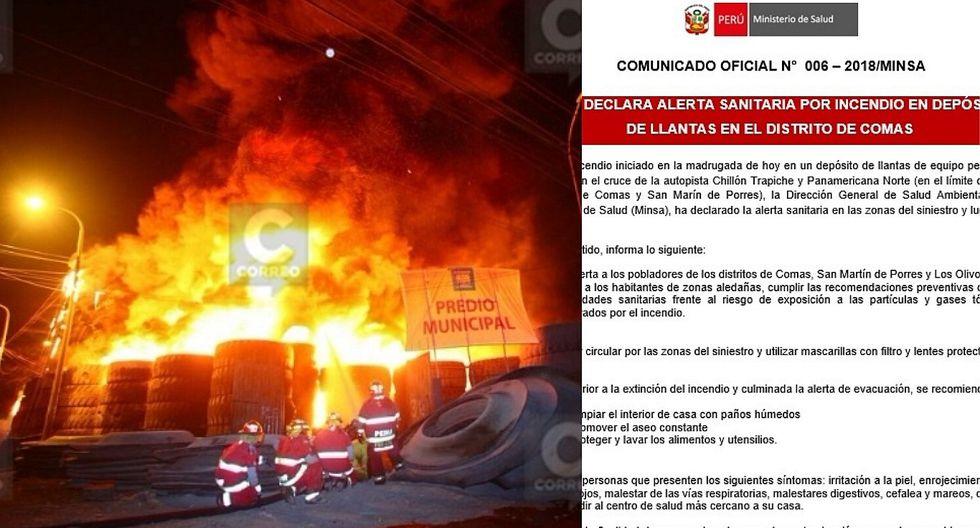 Minsa declara alerta sanitaria por incendio en Comas y SMP
