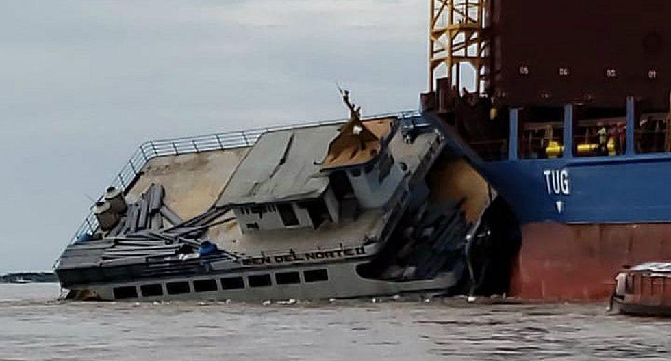 Barco impacta contra nave extranjera y se hunde en el Amazonas (FOTOS Y VIDEO)