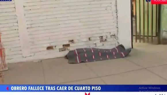 La muerte del obrero Wilber Barrial Córdova (37) fue instantánea. (Foto: Captura TV Perú)