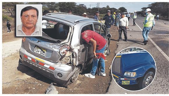 Neumático posterior de vehículo se reventó y ocasionó colisión frontal contra un camión. Pasajero de auto fallece en el acto.