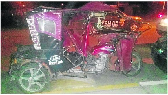 Choque entre miniván y mototaxi deja un muerto