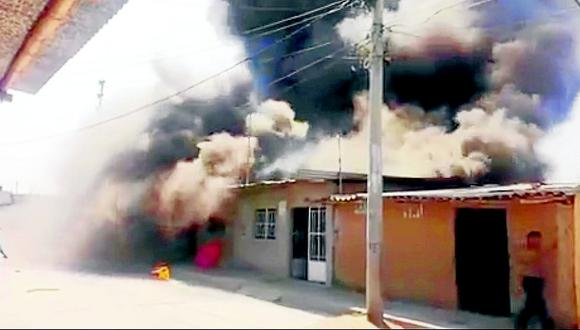 Incendio en un taller ilegal de pirotécnicos arrasó con cuatro casas en Chulucanas (VIDEO)