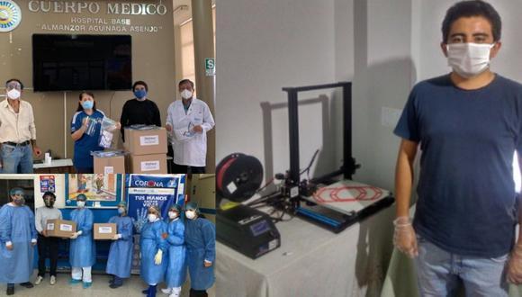 Lambayeque: Arquitecto fabrica 1000 protectores faciales 3D y los dona a personal médico (Foto: Andina)