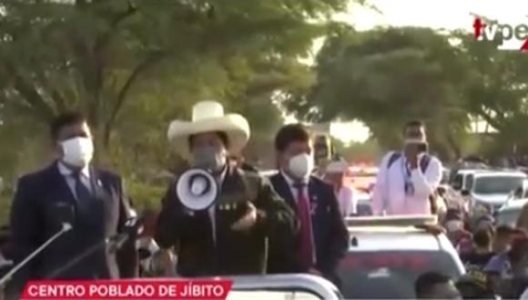 """""""Nosotros estamos en los lugares, de repente improvisados, pero también estamos acá"""", sostuvo Pedro Castillo. (Foto: Captura TV Perú)"""