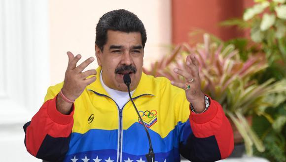 El presidente de Venezuela, Nicolás Maduro, habla durante una reunión en el Palacio Presidencial de Miraflores en Caracas, el 12 de febrero de 2021. (Foto de Federico Parra / AFP)