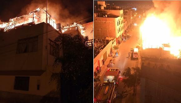 Fuego arrasó con ambientes que habían en el tercer nivel del predio ubicado en el poblado Bolognesi