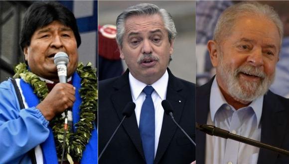 Evo Morales, Alberto Fernández y Lula da Silva dieron como ganador a Pedro Castillo, sin ningún dictamen oficial de algún organismo electoral peruano. | Foto: AFP