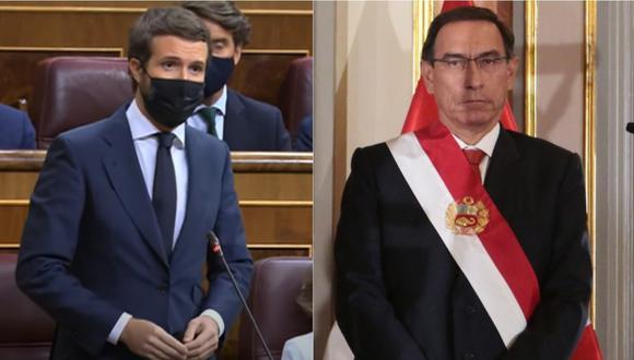 Pablo Casado en una sesión del Congreso y Martín Vizcarra, presidente del Perú. | Foto: Composición.