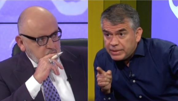 Beto Ortiz y su entrevistado Julio Guzmán, candidato presidencial por el Partido Morado. | Foto: Willax TV.