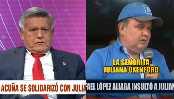 """César Acuña sobre López Aliaga por insultar a Juliana Oxenford: """"Es el comportamiento de un patán"""" (VIDEO)"""