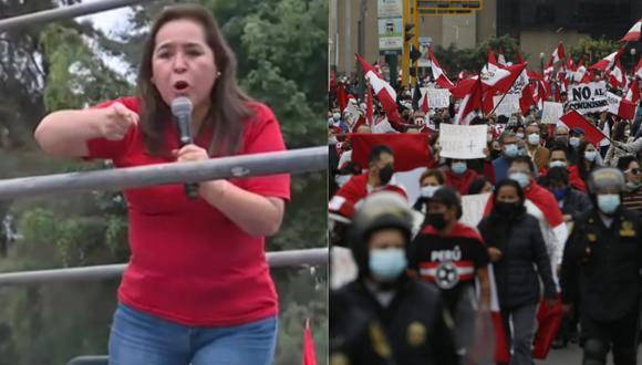 Nidia Vílchez dando un discurso para los manifestantes en el distrito limeño de Jesús María. | Foto: Canal N - GEC