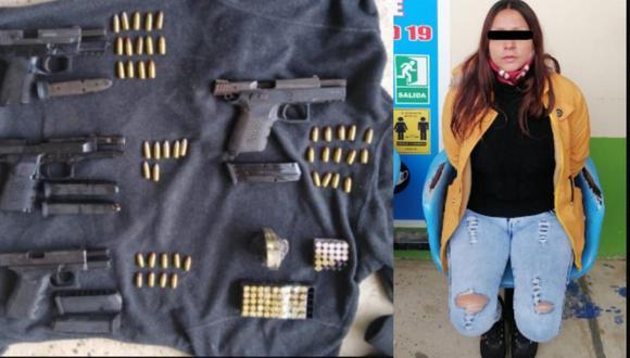 Madre de Dios: Mujer cae con cuatro pistolas y granada de guerra cuando bajaba de bus (Foto: PNP)