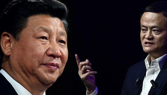 El presidente Xi Jinping (izq.) y el empresario Jack Ma (der.) (Foto: AFP)
