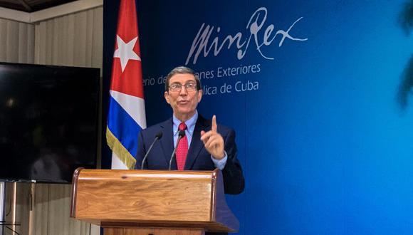 El canciller cubano, Bruno Rodríguez, habla durante una conferencia de prensa en la Cancillería en La Habana, el 13 de julio de 2021. (Katell ABIVEN / AFP).