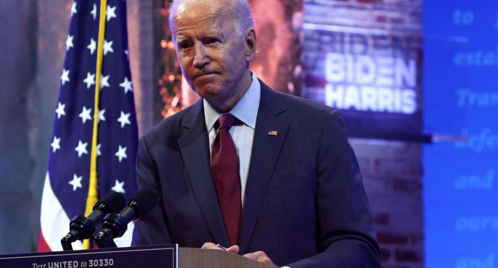 El candidato presidencial demócrata Joe Biden habla durante un evento de campaña en Wilmington, Delaware (Estados Unidos). (Alex Wong/Getty Images/AFP).