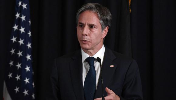 El secretario de Estado de Estados Unidos, Antony Blinken, es visto en una conferencia de prensa en Alemania, el 8 de setiembre de 2021. (Olivier DOULIERY / POOL / AFP).